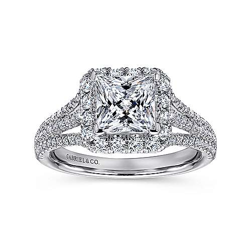 Paz 18k White Gold Princess Cut Halo Engagement Ring
