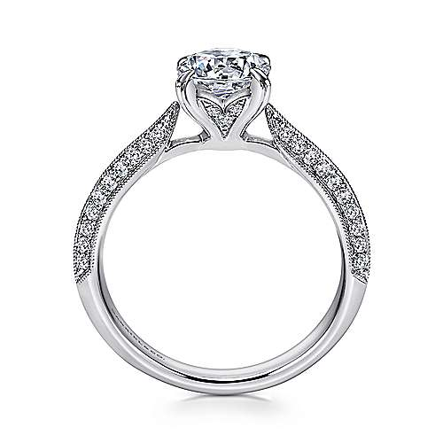 Peace 18k White Gold Round Straight Engagement Ring angle 2
