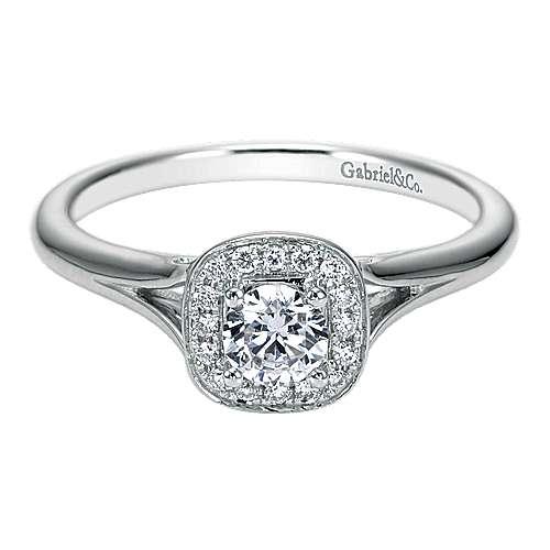 Peak 14k White Gold Round Halo Engagement Ring angle 1
