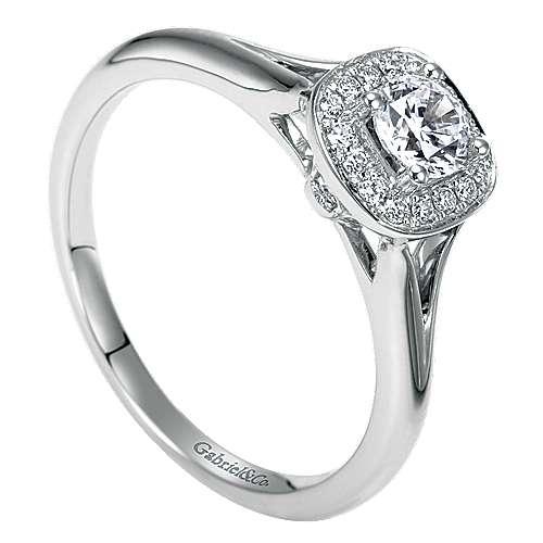 Peak 14k White Gold Round Halo Engagement Ring angle 3