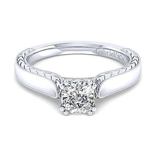 Gabriel - Penelope 14k White Gold Cushion Cut Solitaire Engagement Ring