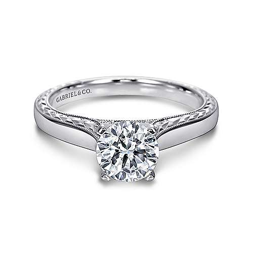 Gabriel - Penelope 14k White Gold Round Solitaire Engagement Ring