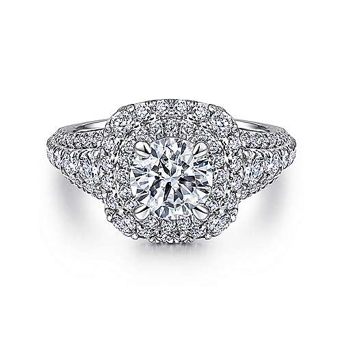 Gabriel - Peony 14k White Gold Round Double Halo Engagement Ring