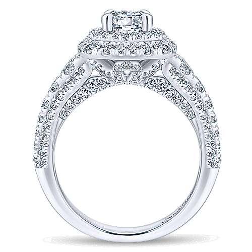 Peony 14k White Gold Round Double Halo Engagement Ring angle 2