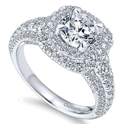 Peony 14k White Gold Round Double Halo Engagement Ring angle 3