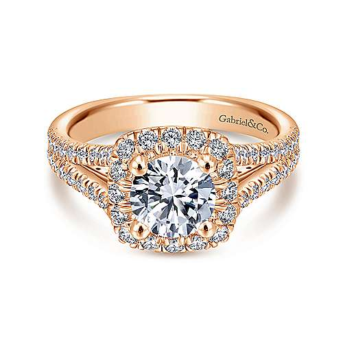 Gabriel - Perennial 14k Rose Gold Round Halo Engagement Ring