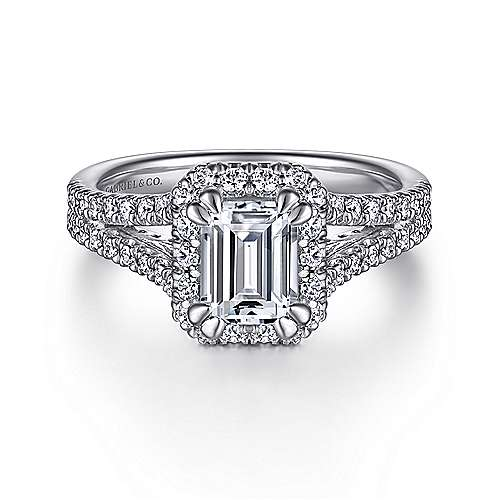Gabriel - Perennial 14k White Gold Emerald Cut Halo Engagement Ring