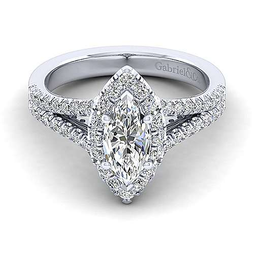 Gabriel - Perennial 14k White Gold Marquise  Halo Engagement Ring