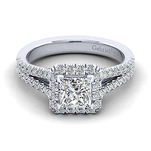 Gabriel - Perennial 14k White Gold Princess Cut Halo Engagement Ring