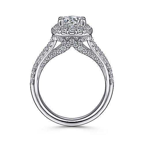 Perennial 14k White Gold Round Halo Engagement Ring angle 2