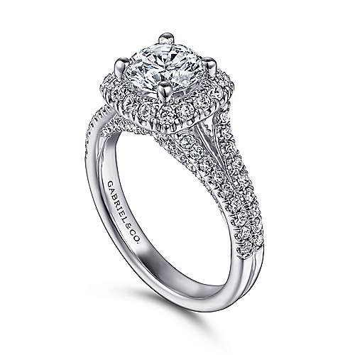 Perennial 14k White Gold Round Halo Engagement Ring angle 3
