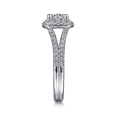 Perennial 14k White Gold Round Halo Engagement Ring angle 4