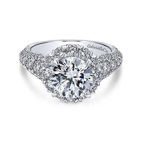Gabriel - Perito 18k White Gold Round Halo Engagement Ring