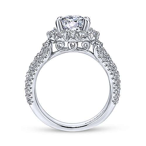 Perito 18k White Gold Round Halo Engagement Ring angle 2