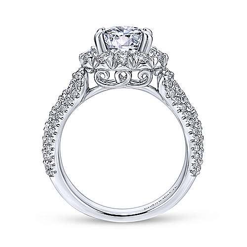 Perito Platinum Round Halo Engagement Ring angle 2