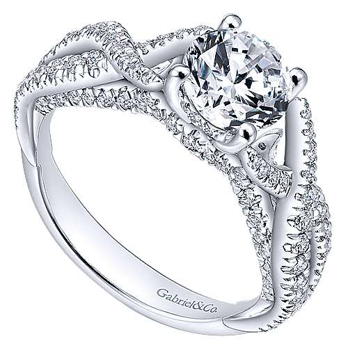 Periwinkle 14k White Gold Round Twisted Engagement Ring