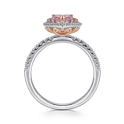 Perla 14k White And Rose Gold Pear Shape Double Halo Engagement Ring angle 2