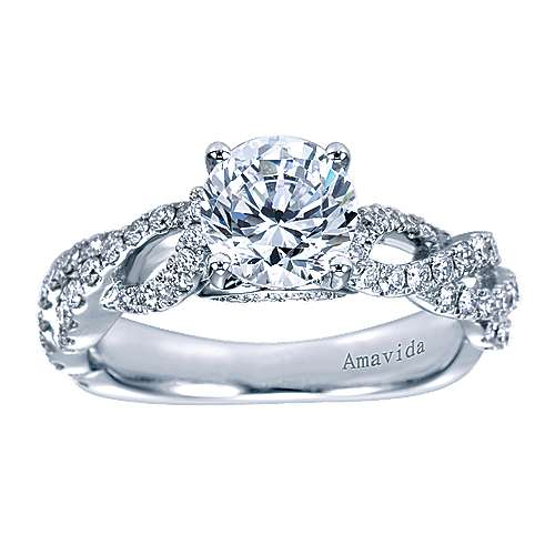 Perry 18k White Gold Round Twisted Engagement Ring