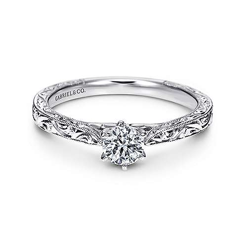 Gabriel - Persephone 14k White Gold Round Straight Engagement Ring