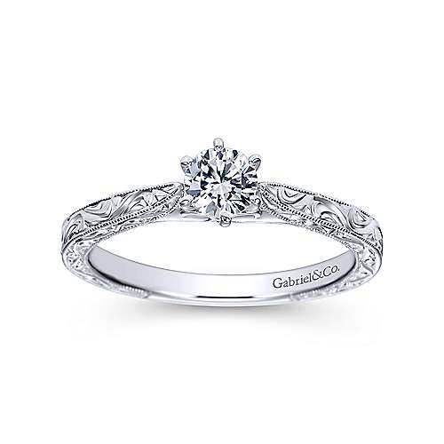 Persephone 14k White Gold Round Straight Engagement Ring