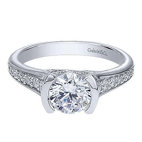 Gabriel - Petra 14k White Gold Round Straight Engagement Ring