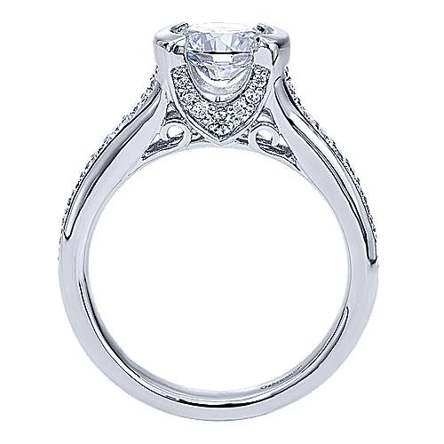 Petra 14k White Gold Round Straight Engagement Ring angle 2