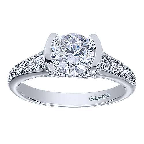 Petra 14k White Gold Round Straight Engagement Ring