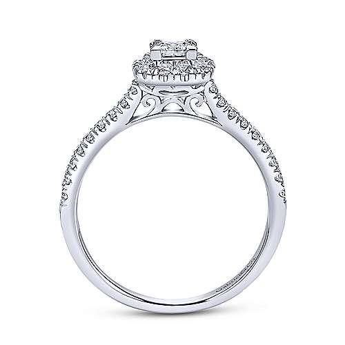 Petunia 14k White Gold Princess Cut Halo Engagement Ring angle 2