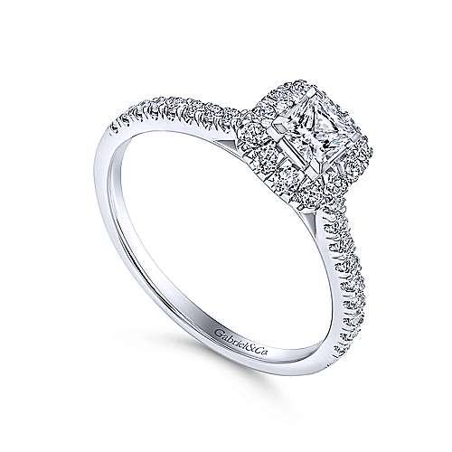 Petunia 14k White Gold Princess Cut Halo Engagement Ring angle 3