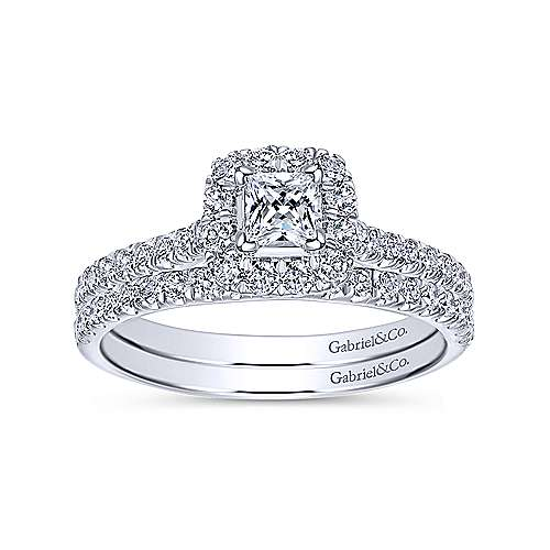 Petunia 14k White Gold Princess Cut Halo Engagement Ring angle 4
