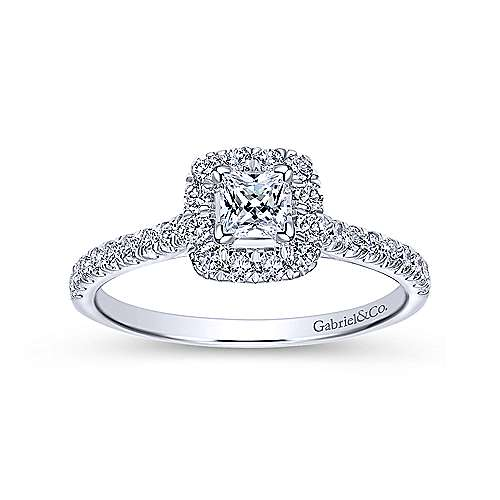 Petunia 14k White Gold Princess Cut Halo Engagement Ring angle 5