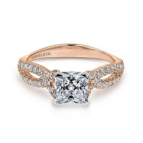 Gabriel - Peyton 14k White And Rose Gold Princess Cut Twisted Engagement Ring