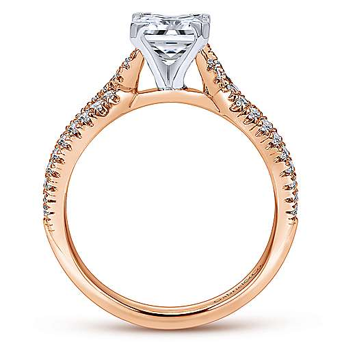 Peyton 14k White And Rose Gold Princess Cut Twisted Engagement Ring angle 2