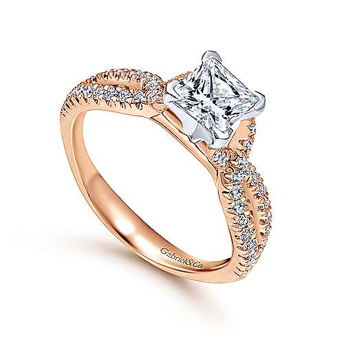 Peyton 14k White And Rose Gold Princess Cut Twisted Engagement Ring angle 3