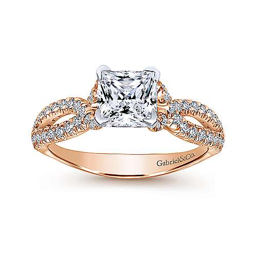 Peyton 14k White And Rose Gold Princess Cut Twisted Engagement Ring angle 5