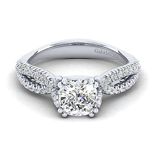 Gabriel - Peyton 14k White Gold Cushion Cut Twisted Engagement Ring