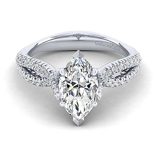 Gabriel - Peyton 14k White Gold Marquise  Twisted Engagement Ring
