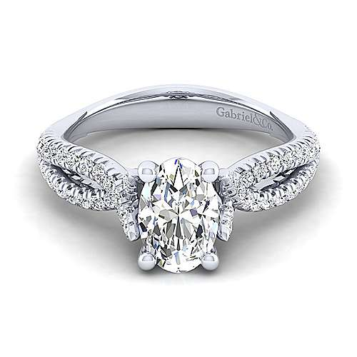 Gabriel - Peyton 14k White Gold Oval Twisted Engagement Ring