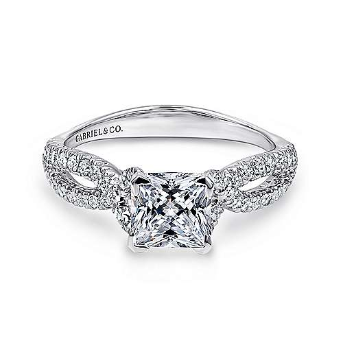 Gabriel - Peyton 14k White Gold Princess Cut Twisted Engagement Ring