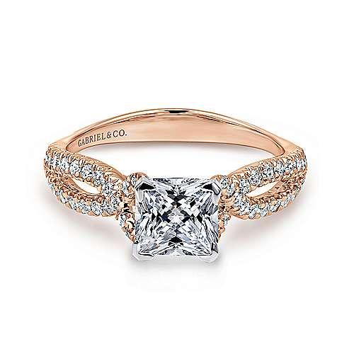 Gabriel - Peyton 14k White/pink Gold Princess Cut Twisted Engagement Ring