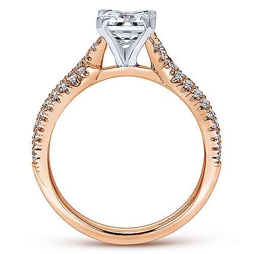 Peyton 14k White/pink Gold Princess Cut Twisted Engagement Ring angle 2