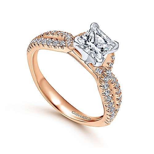 Peyton 14k White/pink Gold Princess Cut Twisted Engagement Ring angle 3
