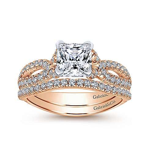 Peyton 14k White/pink Gold Princess Cut Twisted Engagement Ring angle 4