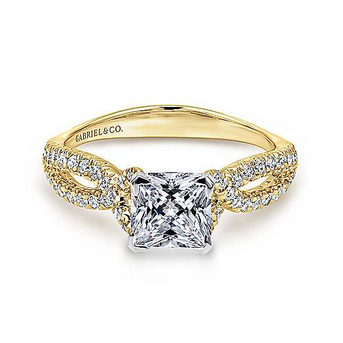 Gabriel - Peyton 14k Yellow And White Gold Princess Cut Twisted Engagement Ring