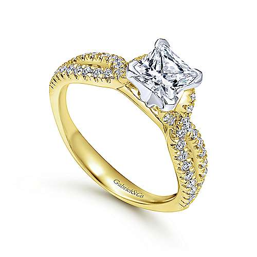 Peyton 14k Yellow And White Gold Princess Cut Twisted Engagement Ring