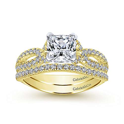 Peyton 14k Yellow And White Gold Princess Cut Twisted Engagement Ring angle 4