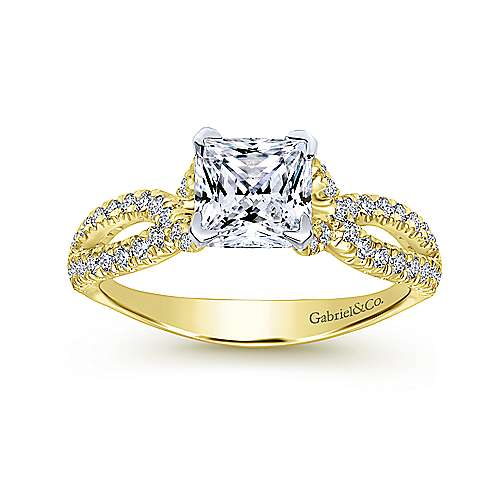 Peyton 14k Yellow And White Gold Princess Cut Twisted Engagement Ring angle 5