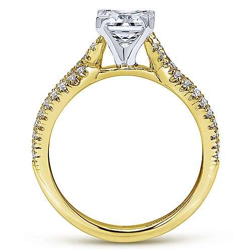 Peyton 14k Yellow/white Gold Princess Cut Twisted Engagement Ring angle 2
