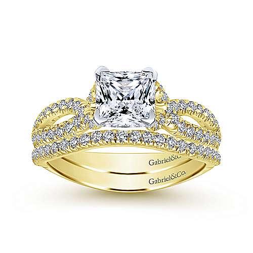 Peyton 14k Yellow/white Gold Princess Cut Twisted Engagement Ring angle 4