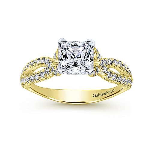 Peyton 14k Yellow/white Gold Princess Cut Twisted Engagement Ring angle 5